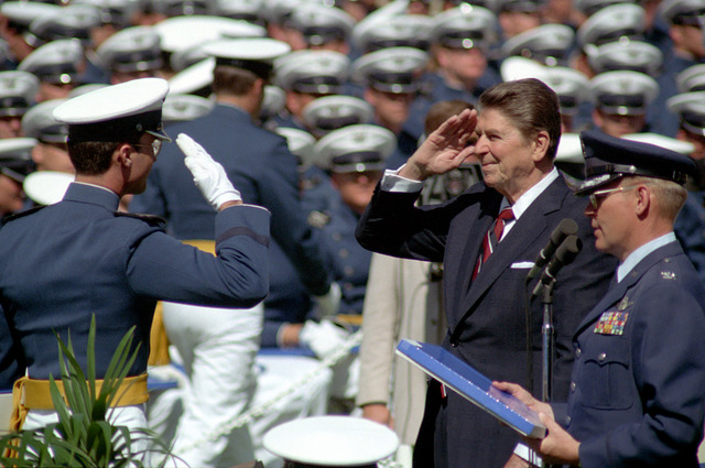 President Ronald Reagan Salutes an Air Force Cadet at the United States Air Force Academy Commencement in Colorado Springs, Colorado