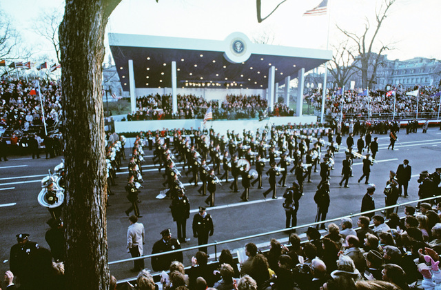 US Army Band performs in front of the reviewing stand during the Inauguration Day parade for President George H.W. Bush, 41st president of the United States