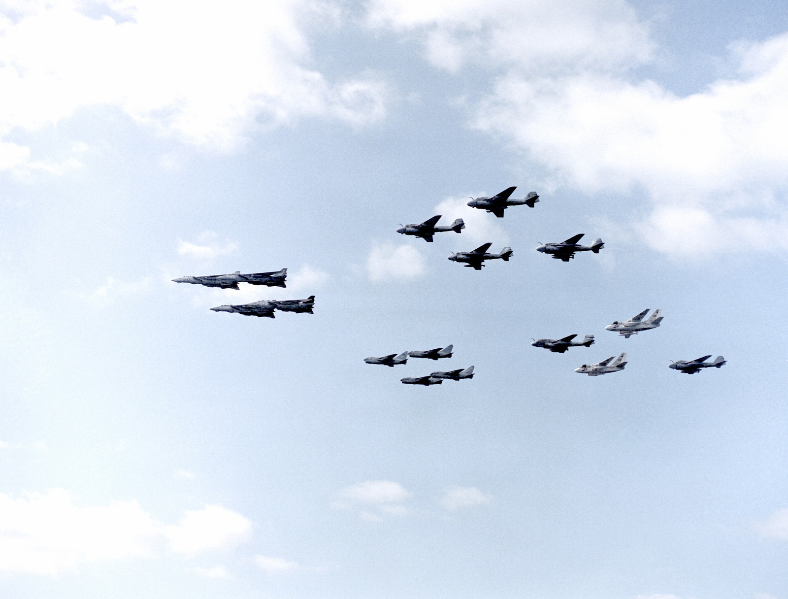 Various U.S. Navy aircraft fly in formation during a flyover demonstration for military officials from the People's Republic of China who are visiting aboard the nuclear-powered aircraft carrier USS NIMITZ (CVN-68). The aircraft include, from foreground: F-14A Tomcat aircraft, A-6E Intruder aircraft, A-7E Corsair II aircraft, and an EA-6B Prowler aircraft leading a group composed of two S-3A Vikings and an A-6E Intruder