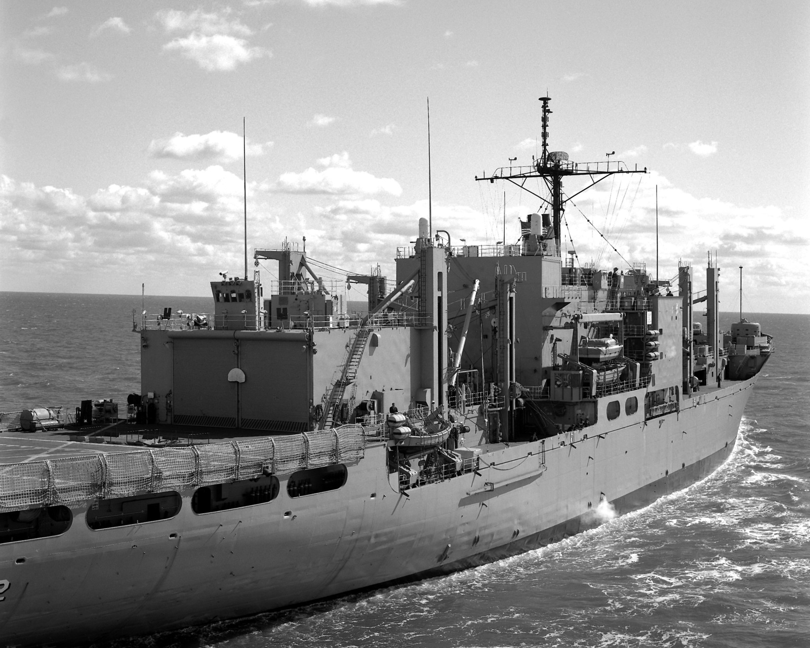 A partial starboard quarter view of the combat stores ship USS SYLVANIA (AFS 2) underway
