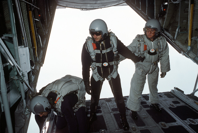 Third Battalion, 325th Infantry paratroopers prepare for a high altitude, low opening (HALO) jump from a 37th Tactical Airlift Squadron C-130E Hercules aircraft during a training mission. They are at 10,000 feet over Aviano Air Base. Exact Date Shot Unknown