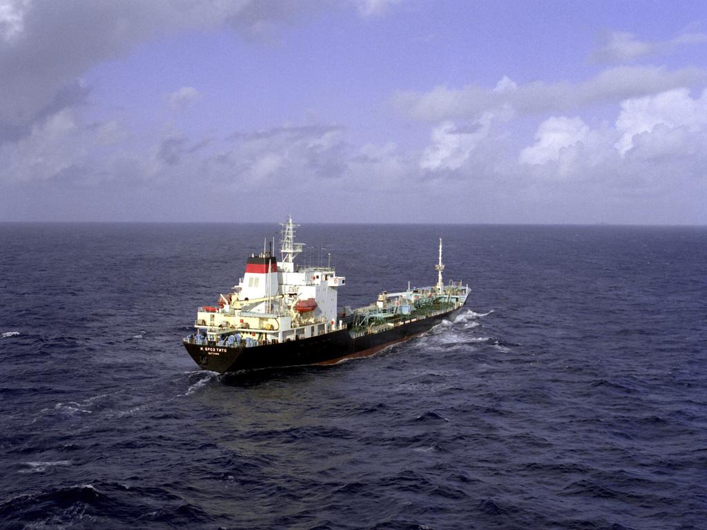 A starboard quarter view of the Soviet merchant ship J. BROZ TITO underway