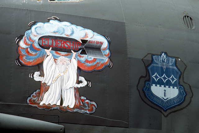 "A close-up view of the artwork and unit insignia on the side of a 320th Bombardment Wing B-52G Stratofortress aircraft known as ""Eldership"". This particular aircraft is the oldest B-52G in the Air Force inventory and will be retired in July 1989. The aircraft is in Guam for Exercise Giant Warrior '89"