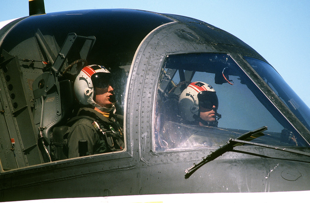Its two pilots sit in the cockpit of an S-3A Viking aircraft of Air Anti-submarine Squadron 41 (VS-41) during Reserve Carrier Air Wing 30 (CVWR-30) qualifications aboard the Aircraft Carrier USS INDEPENDENCE (CV 62)