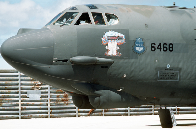 "A left front view of a 320th Bombardment Wing B-52G Stratofortress aircraft known as ""Eldership."" This particular aircraft is the oldest B-52G in the Air Force inventory and will be retired in July 1989. The aircraft is in Guam for exercise Giant Warrior '89"