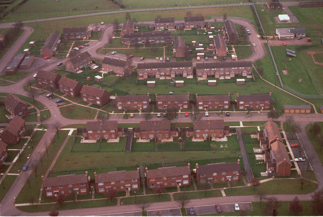 An aerial view of a housing area on the base. The 66th U.S. Air Force Contingency Hospital, U.S. Air Force Europe (USAFE), is located at Little Rissington