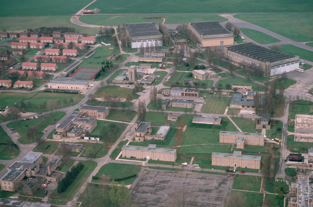 An aerial view of a portion of the base and surrounding area. The 608th United States Air Force (USAF) Contingency Hospital, United States Air Force Europe (USAFE), is located at Upwood. The 7028th School Squadron, USAFE, is also based at Upwood, where it runs the 3rd Air Force's Non-Commissioned Officer (NCO) Academy and NCO Leadership School