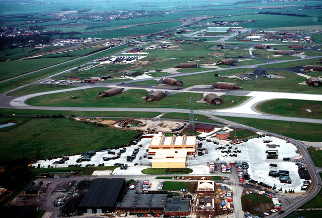 An aerial view of a portion of the base. The 10th Tactical Fighter Wing, U.S. Air Force Europe (USAFE), and TR-1 aircraft of the 17th Reconnaissance Wing, Strategic Air Command (SAC), are based at Alconbury