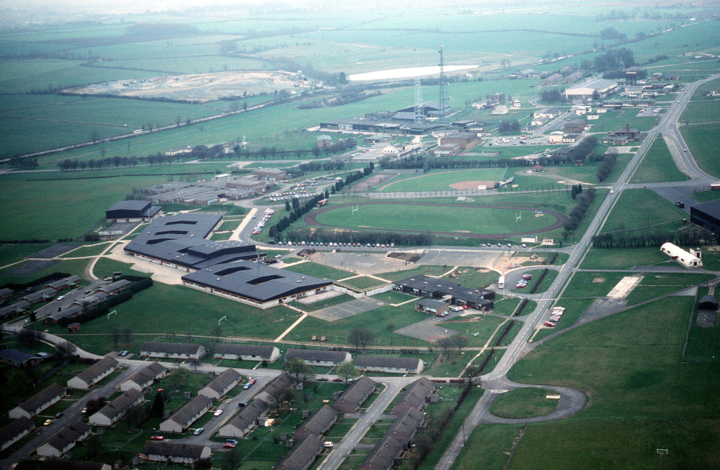 An aerial view of a portion of the base. The 2130th Information Systems Squadron, Air Force Communications Command (AFCC), operates a node of the Defense Communications System at Croughton