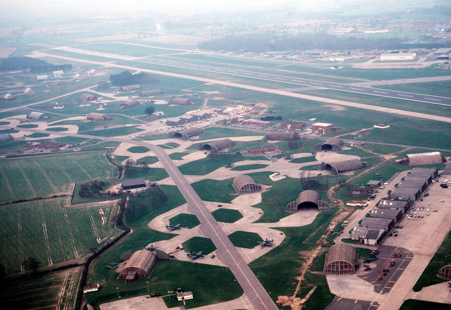 An aerial view of a portion of the base. The 81st Tactical Fighter Wing, U.S. Air Force Europe (USAFE), is based at Bentwaters