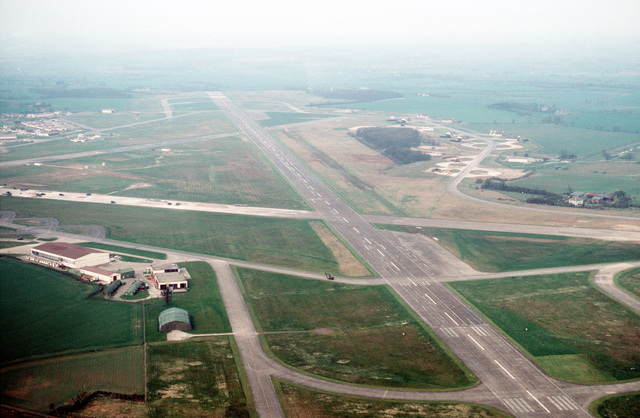 An aerial view of the base's main runway. Weathersfield is maintained as a stand-by deployment base for fighter aircraft and is under the operational control of the 7119th Air Base Flight, United States Air Force Europe (USAFE)