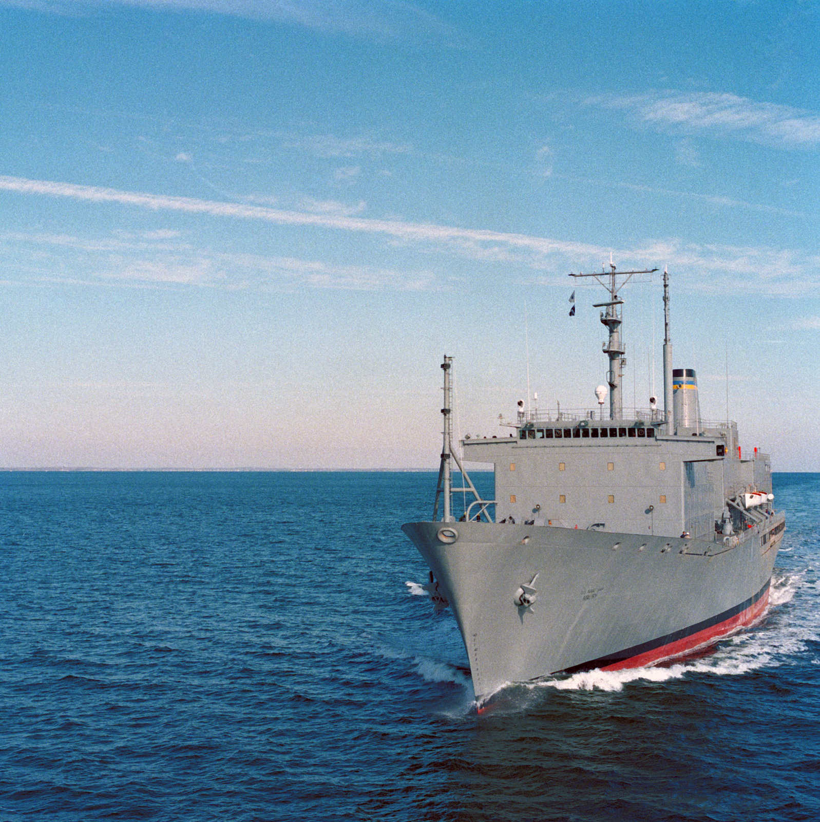 A port bow view of the Oceanographic Research Ship USNS MAURY (T-AGS 39) underway during sea trials