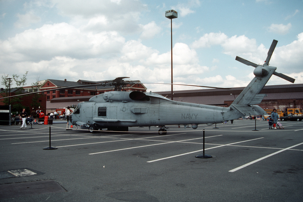 A left view of an SH-60B Sea Hawk helicopter of Light Helicopter Squadron 46 (HSL-46) on display at the Navy Yard's open house