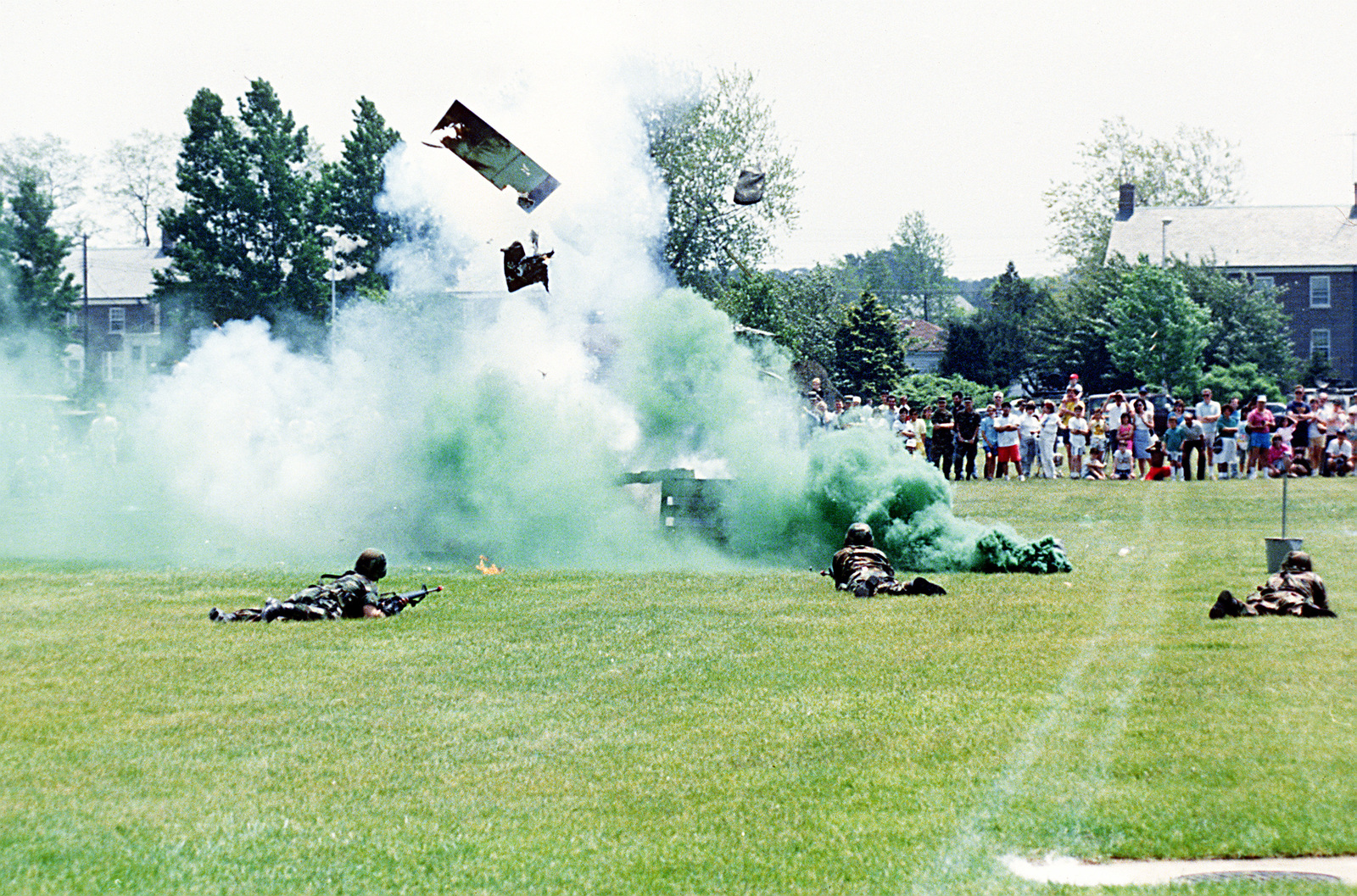 Guardsmen of the 2nd Battalion, 114th Infantry Division, New Jersey National Guard, put on a fire and maneuver demonstration for spectators attending the base's Armed Force Day activities