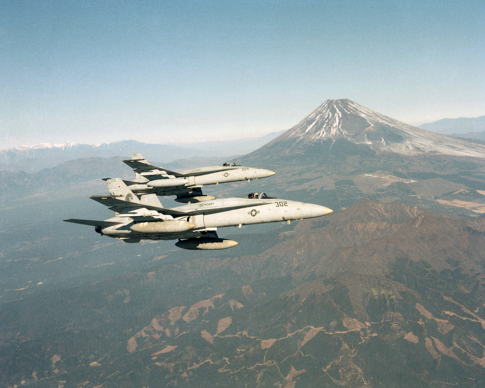 Two F/A-18A Hornet aircraft from Strike Fighter Squadron 192