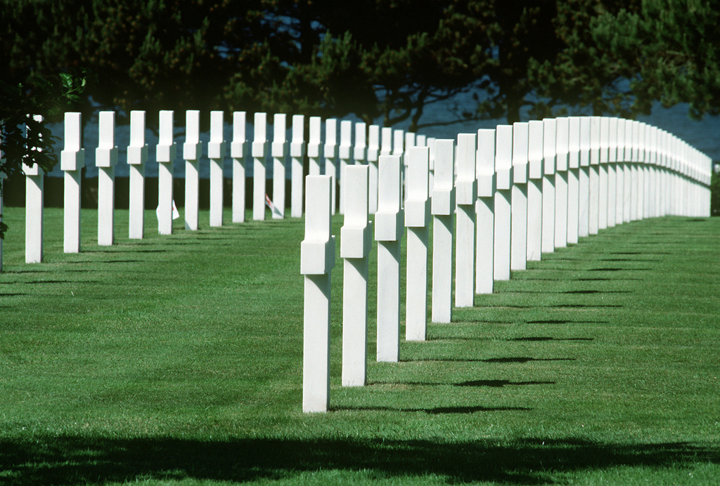 A view of a portion of the Normandy American Cemetery. The cemetery overlooks Omaha Beach, one of the beaches used by Allied forces for the invasion of France during World War II