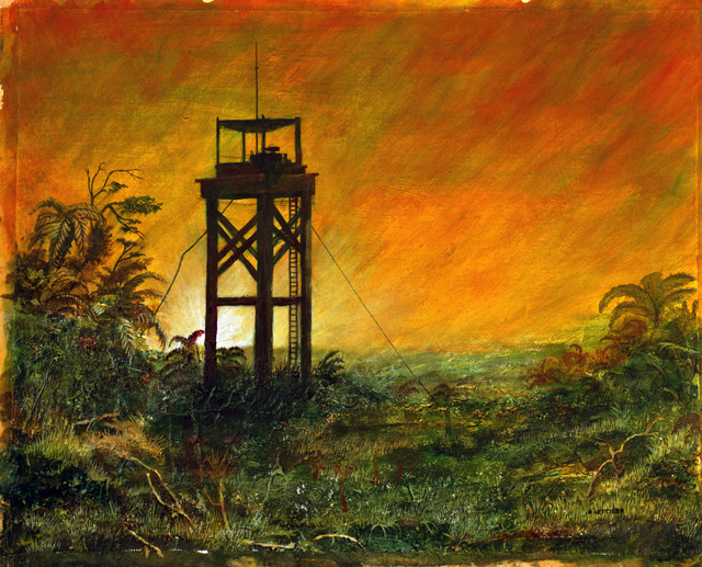 """A hand-sketched illustration by Robert Hettiger. Artwork:""""All Along the Watchtower,""""Vietnam.  Catalog Number:  1.136.87.  US Army Art Collection"""
