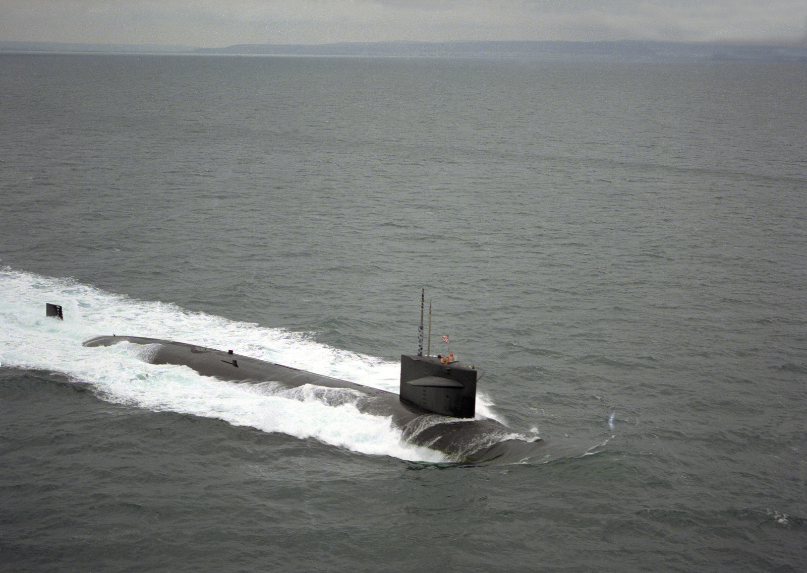 A starboard bow view of the nuclear-powered attack submarine