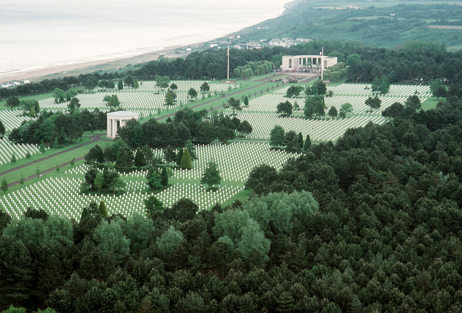 A view of the Normandy American Cemetery. The cemetery overlooks Omaha Beach, one of the beaches used by Allied forces for the invasion of France during World War II
