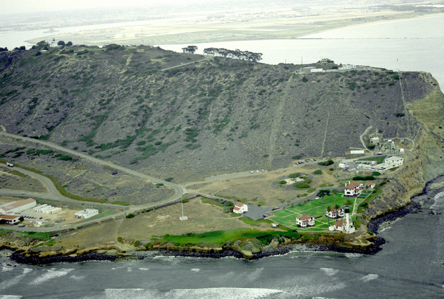 An aerial view of the Point Loma lighthouse