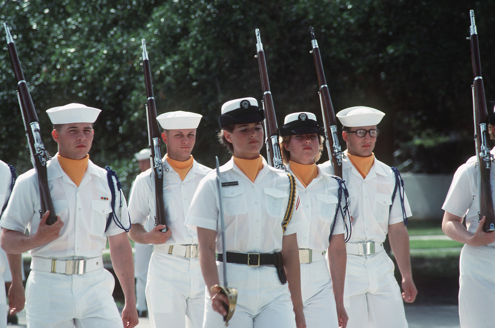 An honor guard stands at attention during boot camp