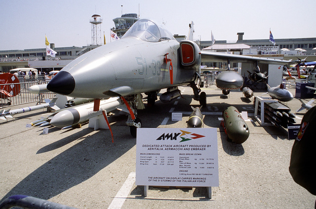 A front right side view of an Italian-Brazilian AMX aircraft on display at the 38th Paris International Air and Space Show at Le Bourget Airfield