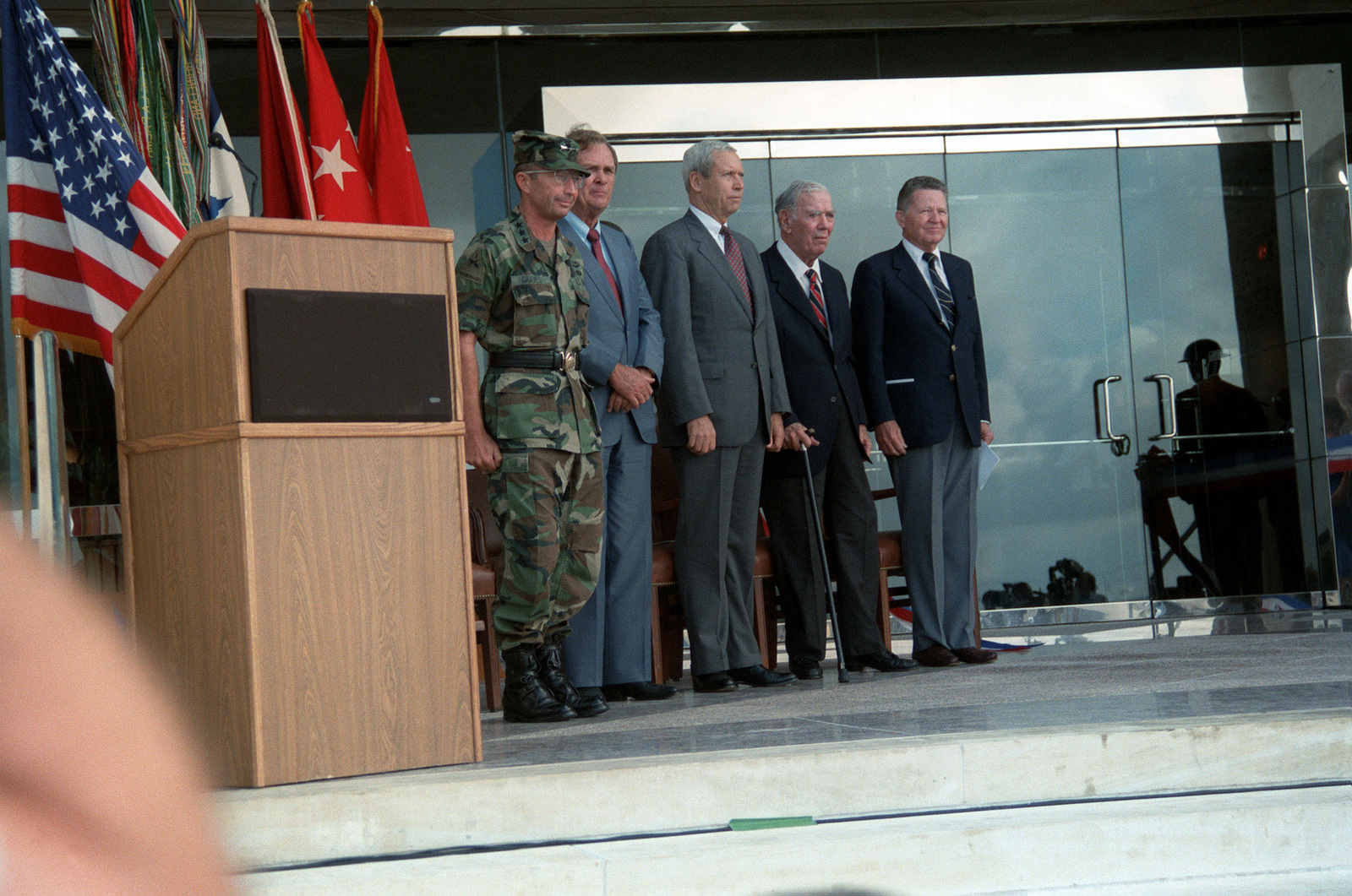At the dedication of the new III Corps and Fort Hood headquarters building, named after former Corps Commander James A. Van Fleet, left to right: Lieutenant General Richard G. Graves, Commanding General; Representative Marvin Leath of Texas; Secretary of the Army Michael P.W. Stone; retired Major General (MGEN) Van Fleet and his son-in-law, retired MGEN Joseph A. McChristian, former commander of the 2nd Armored Division