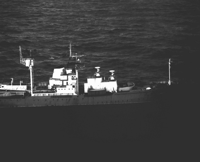 A view of the front half of the Soviet naval missile range ship SIBIR
