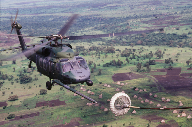 A 55th Special Operations Squadron HH-60A Night Hawk helicopter prepares for aerial refueling during a search and rescue (SAR) mission. Helicopters from the squadron are taking part in SAR efforts initiated for Texas Rep. George T. (Mickey) Leland and members of his delegation after the plane transporting Leland and 15 other people was reported missing en route to a refugee camp near the Sudanese border