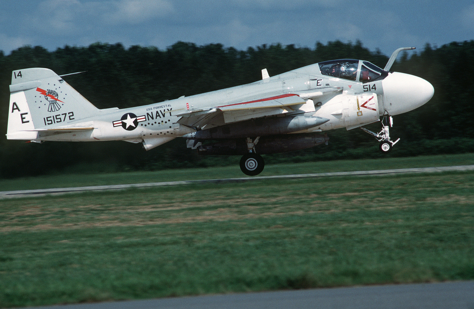 An Attack Squadron 176 (VA-176) A-6E Intruder aircraft takes off