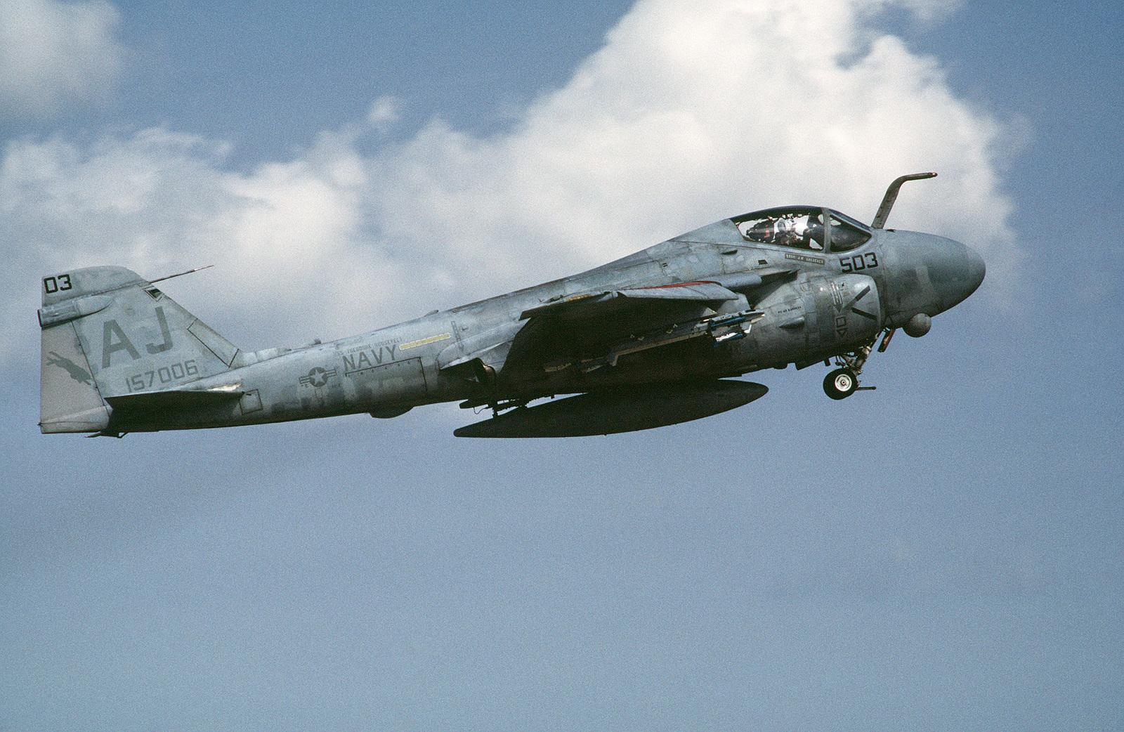 An Attack Squadron 35 (VA-35) A-6E Intruder aircraft takes off