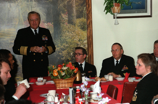 CHIEF of Naval Operations Adm. Carlisle A.H. Trost, left, speaks during a breakfast at the officer's club during his tour of air station facilities