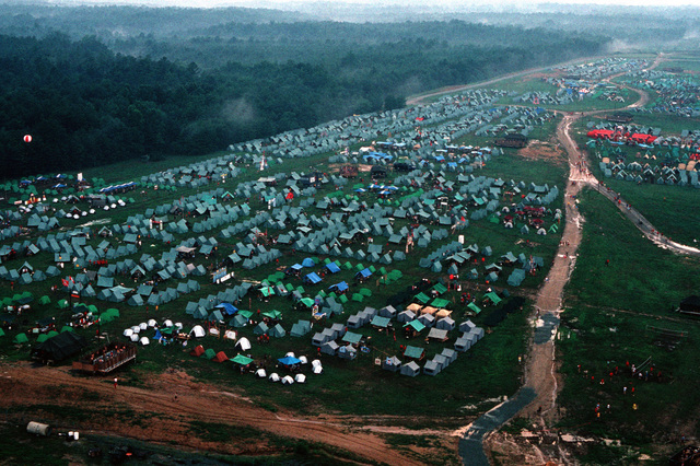 Tents line a field at Fort A.P. Hill, site of the 1989 National Jamboree of the Boy Scouts of America