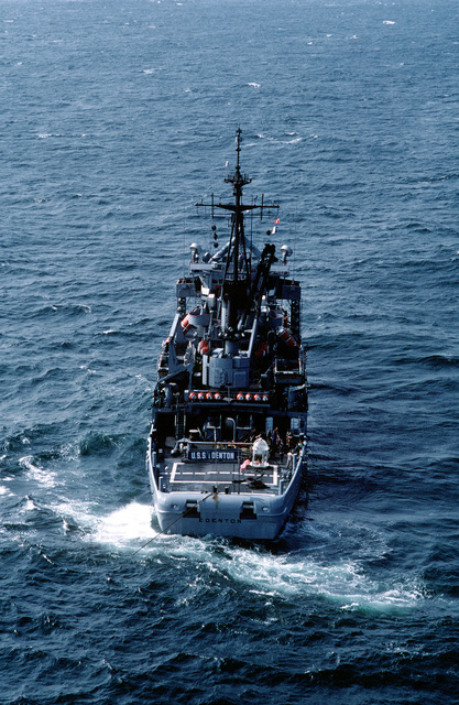 A stern view of the Salvage and Rescue Ship USS EDENTON (ATS 1) at anchor off the Virginia Capes