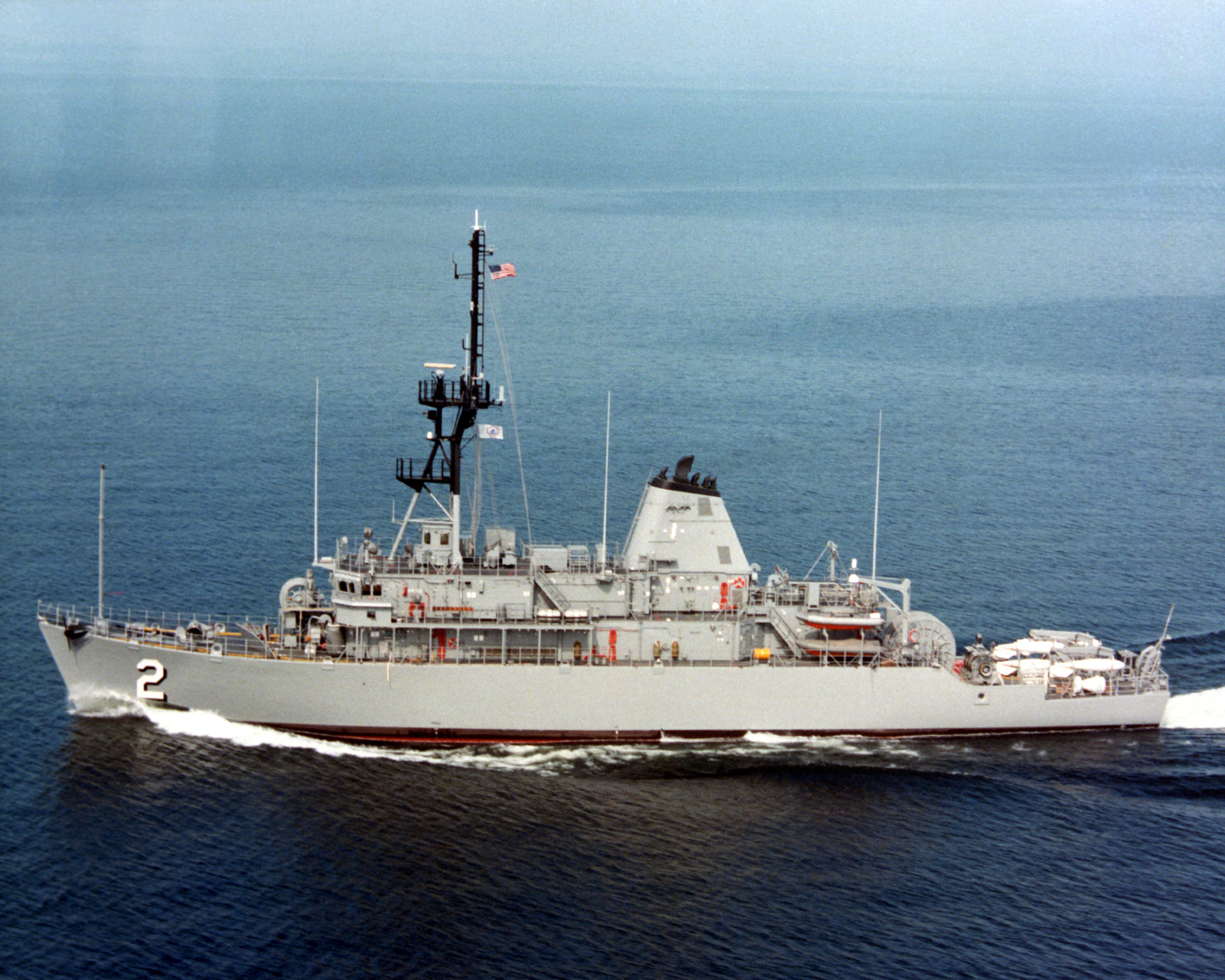 A port beam view of the mine countermeasures ship USS