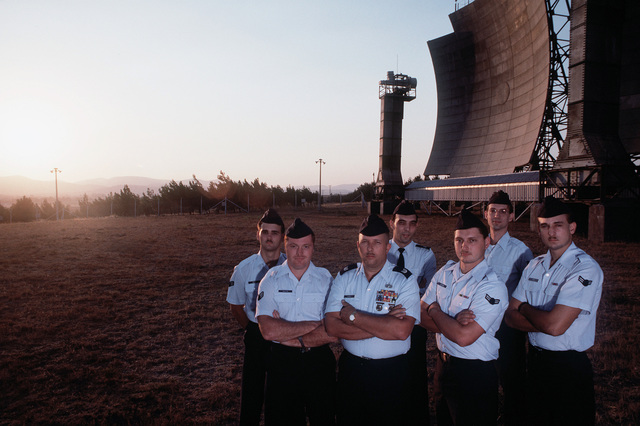 Personnel of Detachment 6, 2003rd Communications Group, stand near the tropospheric antennas at a communications site run by the detachment. They are, from left: SRA Mercer, SRA Pat Bates, MSGT Barner, MSGT Fritz, A1C Legrone, SSGT Christopher Whiteman, and A1C Dwayne Bren. Balikesir is located in western Turkey, about 95 miles north of Izmir, Turkey