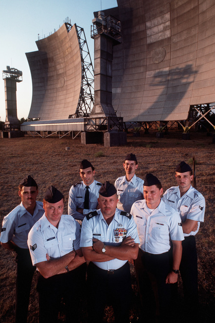 Personnel of Detachment 6, 2003rd Communications Group, stand near the tropospheric antennas at a communications site run by the detachment. They are, from left: SRA Mercer, SRA Pat Bates, MSGT Fritz, MSGT Barner, SSGT Christopher Whiteman, A1C Legrone and A1C Dwayne Bren. Balikesir is located in western Turkey, about 95 miles north of Izmir, Turkey