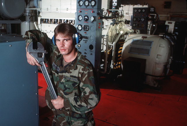 SSGT Ronald Buskey works among the engines in the power-generating plant at a communications facility run by Detachment 4, 2003rd Communications Group. Elma Dag is located about 20 miles east of Ankara, Turkey