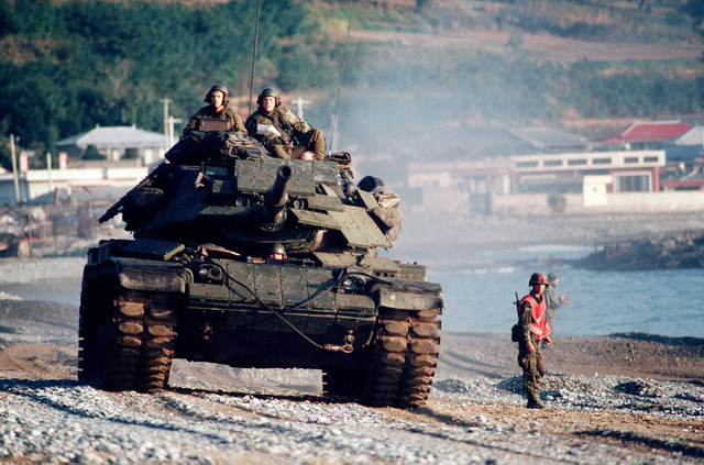 US Marines man an M60A12 main battle tank during the joint Thai/US combined exercise THALAY THAI '89