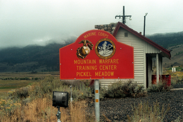 Marine Corps Mountain Warfare Training Center....A view of the sign at an entrance to the center, which also is known as Pickel Meadow