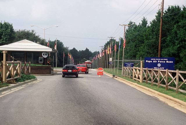 A view of the main gate at Pope Air Force Base, site of exercise Market Square III activities