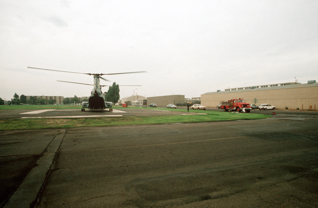 A UH-46A Sea Knight helicopter participates in a medical evacuation drill held in conjunction with the Naval Regional Medical Center during PACEX '89