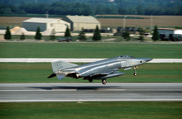 A 26th Tactical Reconnaissance Wing RF-4C Phantom II aircraft lifts off from a runway as it departs on a mission during the U.S. Air Forces in Europe (USAFE) exercise Display Determination '89