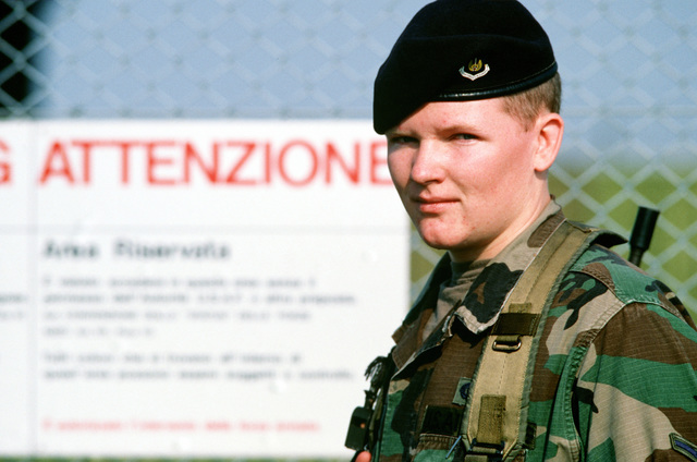 AMN John D. O'Connell of the 40th Security Police Flight stands guard along the perimeter of the flight line during the U.S. Air Forces in Europe (USAFE) exercise Display Determination '89