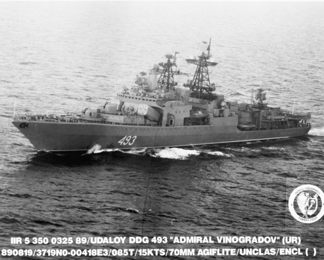 A port view of the Soviet Udaloy class guided missile destroyer ADMIRAL VINOGRADOV (DDG 493) underway