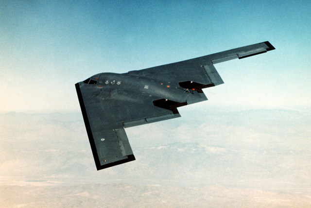 An inflight overview of the B-2 Bomber on its fifth test flight. The flight lasted one hour and seventeen minutes. Northrop CHIEF Test Pilot Bruce Hinds and Air Force LT. COL. John Small of the B-2 Combined Test Force were at the controls. The first five test flights were designed to expand the flight envelope, demonstrate the handling qualities of the aircraft while flying in the air refueling position and validate the proper function of the aircraft's subsystems