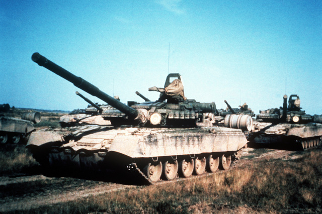 A Soviet T-80 main battle tank, equipped with reactive armor