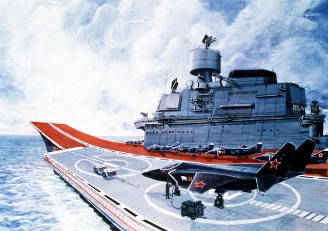 An artist's depiction of a Soviet Tbilisi class aircraft carrier with an Su-27 Flanker aircraft being serviced on deck