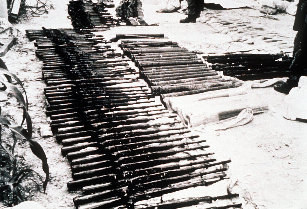 Part of the cache of Soviet-bloc weapons, which included AK47 rifles and RPG-7 and RPG-18 rocket-propelled grenade launchers, uncovered by the Salvadoran government on 30 May 1989