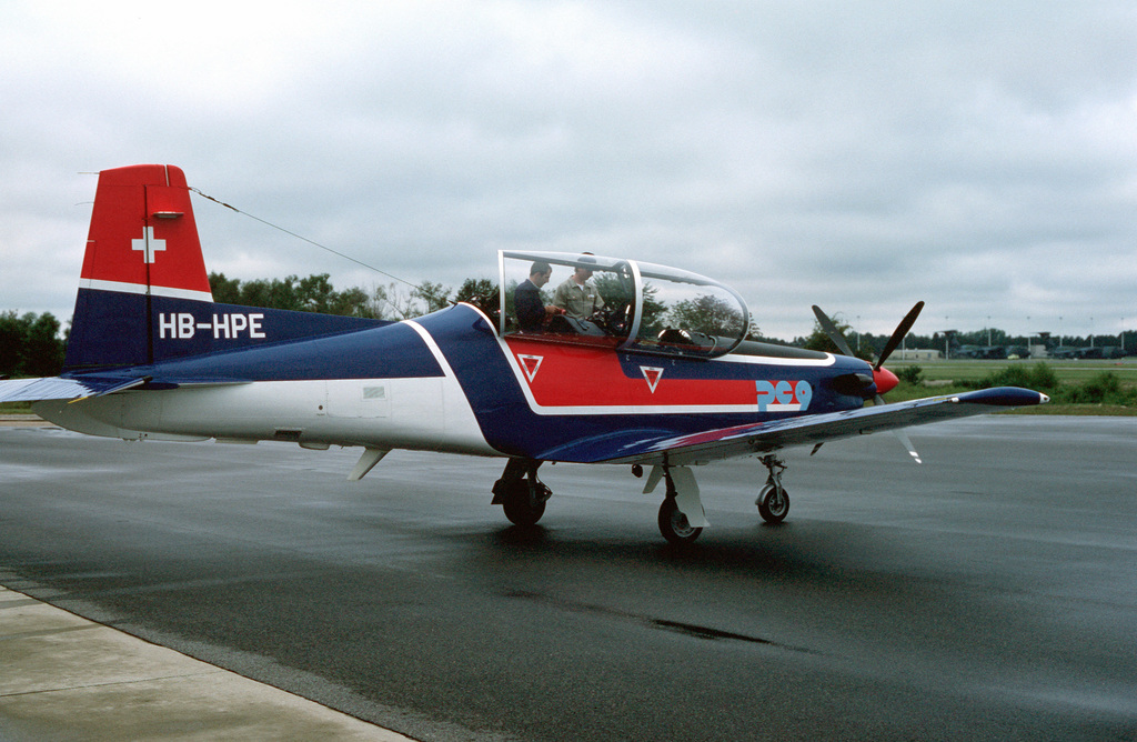 A right rear view of a Swiss-made Pilatus PC-9 aircraft that is undergoing evaluation by a U.S. Army test board